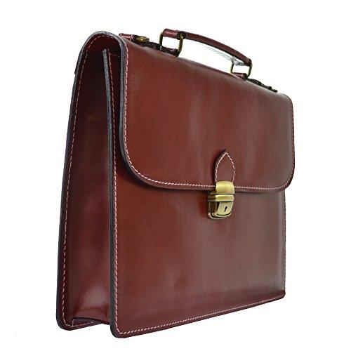 CTM Unisex Business-Tasche, Aktentasche aus echtem Leder hergestellt in Italien D7004 - 38x27x7 Cm Rote