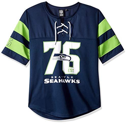 Damen Hockey Jersey (Icer Brands NFL Seattle Seahawks Damen Hockey-T-Shirt, Netzstoff, Spitze, Größe XL, Marineblau)