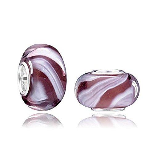 Pflaumen-glas-anhänger (MATERIA Muranoglas Beads Anhänger violett PFLAUME 925 Silber für Beads Armbänder/Ketten #1107)