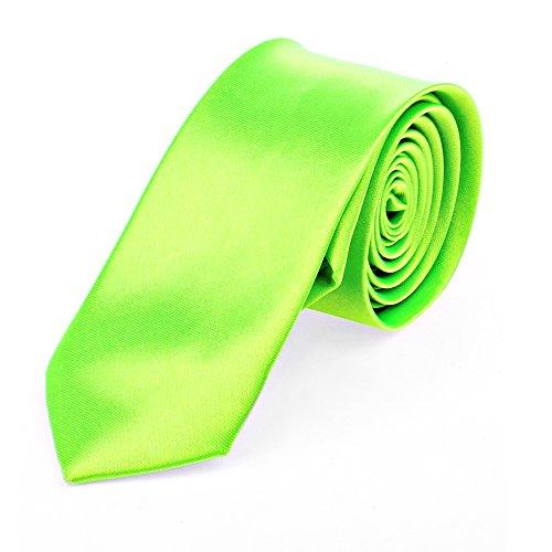 Schmale dünne Krawatte 5cm handgenäht Polyester (neongrün-uni)