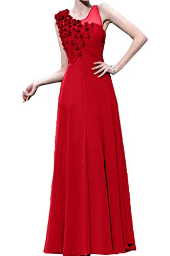 Missdressy Romantisch Chiffon Lang Tuell Aermellos Falten Partykleid Ballkleid Festkleid Tanzenkleid Abendkleid Rot