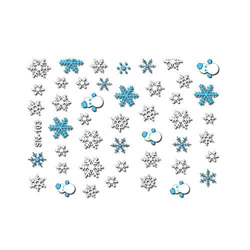 Naisicatar ein Blatt 3D Nagel-Kunst-Schneeflocken Aufkleber Weihnachtsmotive Nail Sticker Shinning Schneeflocken Nagel-Abziehbilder (blau, weiß) Weihnachten Stil