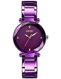 Relojes Pulsera Espejo Corte prismático Escala de Rhinestone Brillante Relojes Mujer Correa de Acero Inoxidable Moda