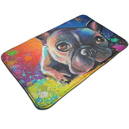 Dimension Art Colorful French Bulldog Memory Foam Bath Mat Non Slip Absorbent Super Cozy Soft Velvet Bathroom Rug Carpet, 19.7