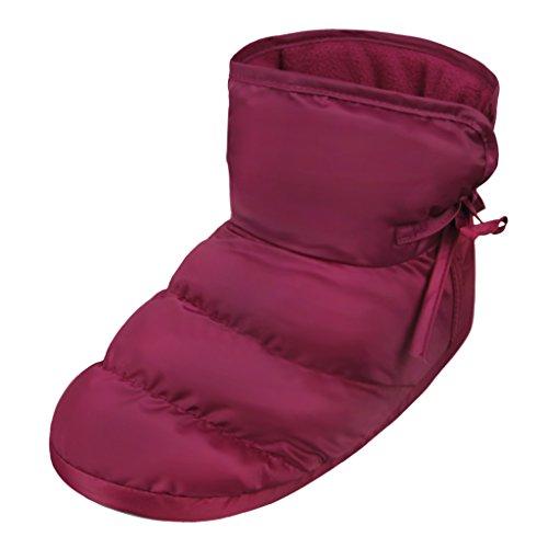 Chaussons dintérieur Maison Pantoufles en Velours Chaussures Antidérapante Etanche Chaud Chaussettes Sol Epais Doux avec Doublure Peluche Bottes Hiver Automne Cadeau de Noël pour Hommes Femmes Rose Rouge