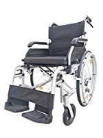 """Superior Portable Detachable Self Propelled Travel Transport Wheelchair with Handbrakes and 18"""" seat - Silver"""