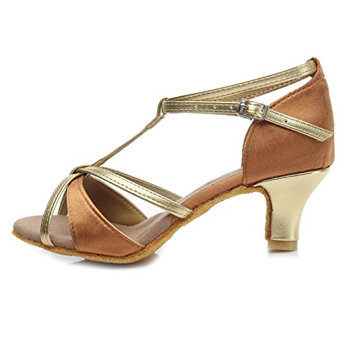 HROYL Damen Tanzschuhe/Latin Dance Schuhe Satin Ballsaal Modell-D7-255 5CM Braun