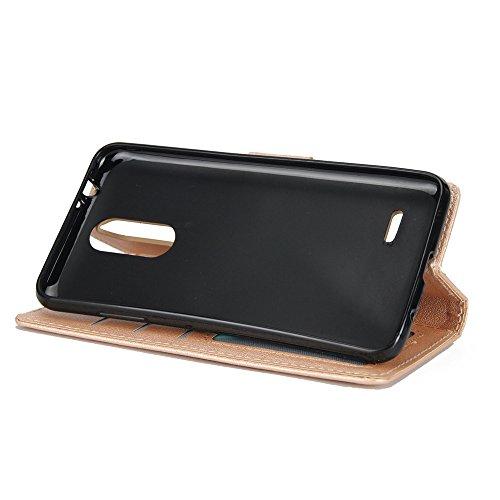Klassische Premiu PU Ledertasche, Horizontale Flip Stand Case Cover mit Cash & Card Slots & Lanyard & Soft TPU Interio Rückseite für LG K10 2017 ( Color : Red ) Gold