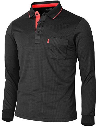 BCPOLO Herren Sportswear Polo Shirt Funktionsfreizeithemden-L-black XL (Langarm-uniformhemd Blau)