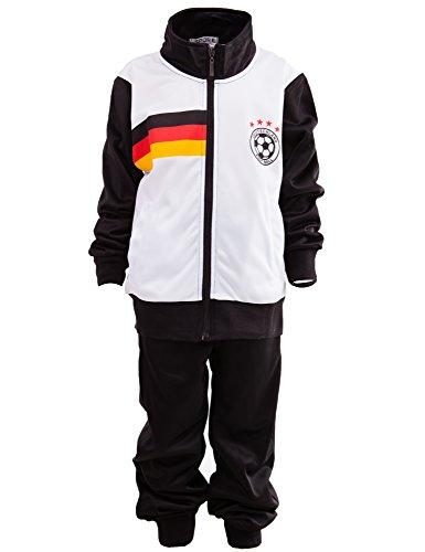 24brands Kinder Jungen Fußball Set Trainings Anzug Polyesteranzug Trikot Deutschland Brasilien sportanzug Ländertrikot TKF2941, Größe:128-134;Farbe:Deutschland