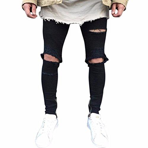 Herren Jeans Hose Jeanshosen Slim Fit Strech Skinny Destroyed Löchern Jeans Denim (31, Schwarz)