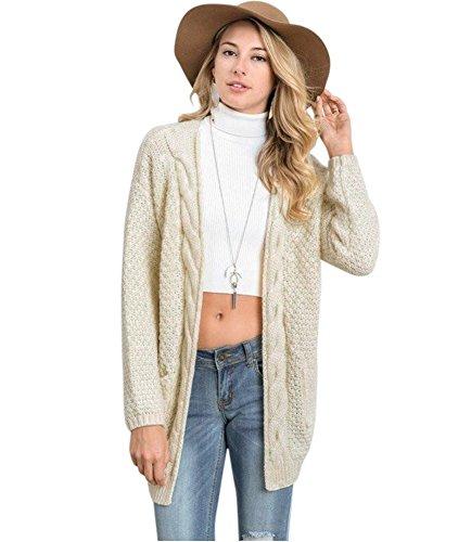 Voghtic Damen Stylish Outwear Open Front Langarm Pullover Strickjacke mit Taschen (Front-strickjacke-pullover)