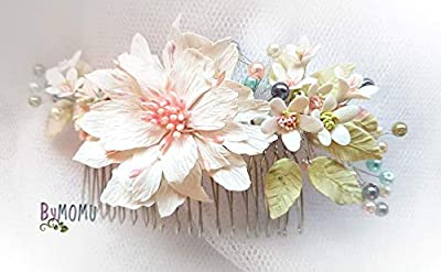 Fleur Hair Decoration AZALEA-Fleurs Porcelaine à froid-porcelaine Accessoires pour cheveux de mariée-peigne à cheveux