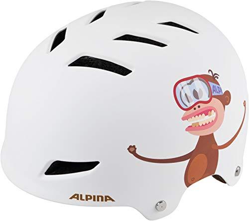 ALPINA Jungen Park Fahrradhelm, White-Monkey, 51-55 cm