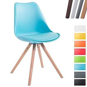 Retro-Stuhl Toulouse Rund Mit Kunstlederbezug | Kunstoff-Lehnstuhl Mit Holzgestell