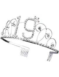 19th Birthday Tiara Crystal Rhinestone Birthday Crown Headband Hair Band with Hair Combs Clip (Updated Version)