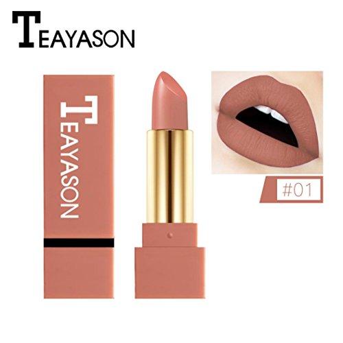 12 Farben Neue Mode nude Lippenstift matt, Huihong TEAYASON Wasserdicht Pigment Braun nude Lippenstift Lang Anhaltende Make up Lipgloss
