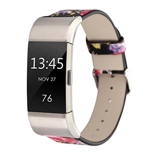 Signore orologio digitale,sonnena orologio sportivo donna orologio acciaio uomo cinturino di ricambio per cinturino in pelle modello per fitbit charge 2 (nero rosso, standard)