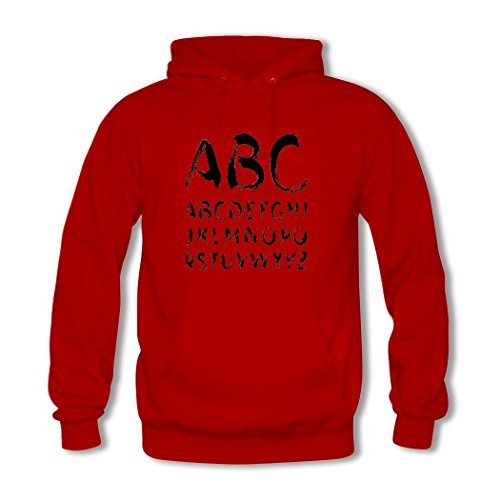 weileDIY English alphabet DIY Custom Classic Women Hoodie Sweatshirt Red_A