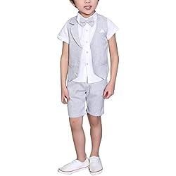 Traje - para niño Boda de Verano Mixta de algodón/Lino Mezcla de Chaleco Corto niño Trajes de página, Chaleco (Gris, 5-6 años)