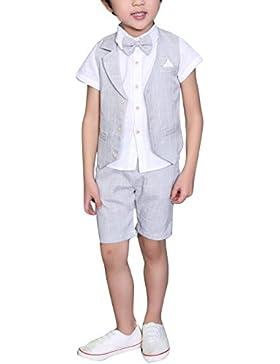 DREAMOWL Traje - para niño Boda de verano mixta de algodón/lino Mezcla de chaleco Corto niño trajes de página,...
