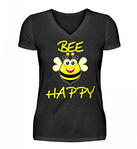 PlimPlom Hochwertiges V-Neck Damenshirt - Bee Happy T-Shirt Lifestyle Design Lustige Biene (Junge V-neck Damen T-shirt)