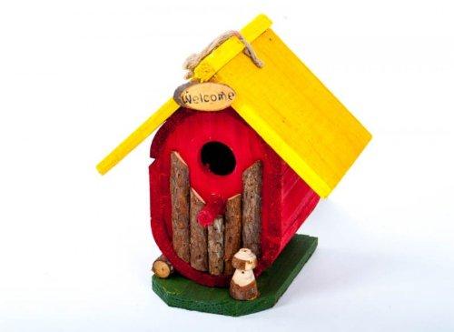 Vogel-Nisthöhle bunt aus Holz 17x13x19cm - 2
