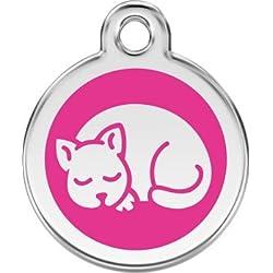 Médaille pour petit CHAT Red Dingo modèle CHAT QUI DORT - 11 couleurs disponibles - GRAVURE OFFERTE
