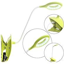 HIMRY® LED Táctil Lámpara de lectura, luz de lectura ajustable de forma continua, Ajustable Cuello, Táctil Sensible, USB Recargable, portátil Lámpara de Mesa con el clip, lámpara de fiesta, luces de sujeción, las luces del lugar de trabajo, verde, KXD6000-green