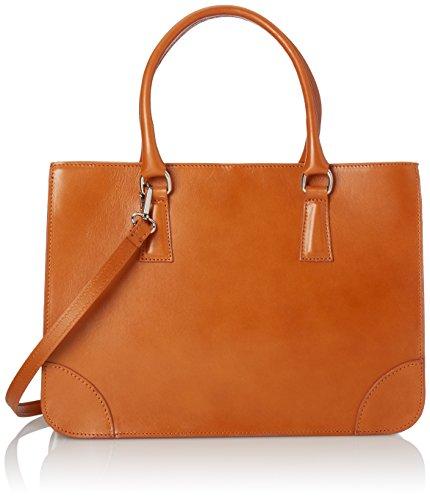 CTM Borsa Donna Elegante Classica, Stile Italiano, 36x26x18cm, Vera pelle 100% Made in Italy Cuoio