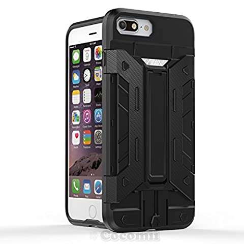 iPhone 8 Plus / 7 Plus Coque, Cocomii Transformer Armor NEW [Heavy Duty] Premium Built-in Multi Card Holder Kickstand Shockproof Hard Bumper Shell [Military Defender] Full Body Dual Layer Rugged Cover Case Étui Housse Apple (Black)