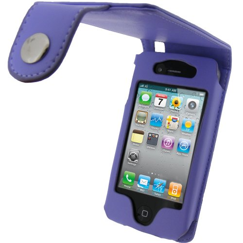 igadgitz Viola Eco Pelle Custodia Case Cover Protezione per Apple iPhone 4 HD & iPhone 4S 16GB 32GB 64GB + Protettore schermo & Clip cintura
