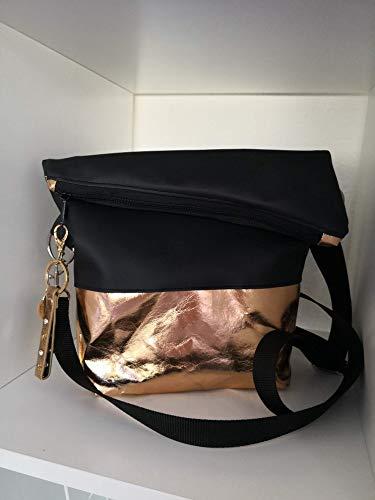 Ausgefallene Damen-Handtasche - Foldover - Kunstleder Schwarz - Rosegold