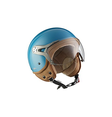 SOXON SP-325-MONO Crystal Blue · Vintage Bobber Helmet Scooter-Helm Vespa-Helm Jet-Helm Cruiser Roller-Helm Retro Chopper Biker Motorrad-Helm Mofa Pilot · ECE zertifiziert · mit Visier · inkl. Stofftragetasche · Blau · XL (61-62cm)