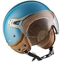 SOXON SP-325-MONO Crystal Blue · Bobber Scooter Urbano Vespa Moto motocicleta Mofa Vintage Chopper Piloto Helmet Casco Demi-Jet Urban Retro Biker Cruiser · ECE certificado · visera incluido · incluyendo bolsa de casco · Azul · S (55-56cm)