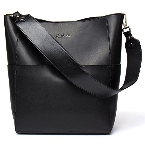 BOSTANTEN Leder Damen Handtasche Schultertasche Umhängetasche Designer Tasche Groß Schwarz