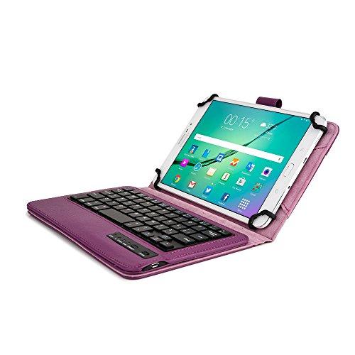 Huawei MediaPad M1 8.0, M2 Tastaturhülle, COOPER INFINITE EXECUTIVE abnehmbare QWERTY Bluetooth Funktastatur Tragetasche Tabletschutz Folio mit Standfunktion für Huawei MediaPad M1 8.0, M2 (Violett)