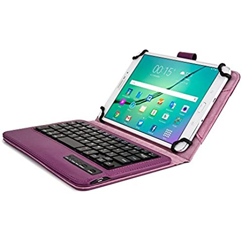 Funda tipo Folio Cooper Cases (TM) Infinite Executive para tablet de Samsung Galaxy Tab 3 Lite 7.0 (T110) / 3G (T111) con teclado Bluetooth en Morado oscuro (soporte incorporado, teclado QWERTY extraíble, batería recargable)