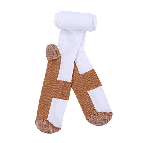 Chaussettes de Compression à la Mode Confortable soulagement Doux Hommes Femmes Anti-Fatigue des Chaussettes Anti-Fatigue de veines variqueuses - Blanc