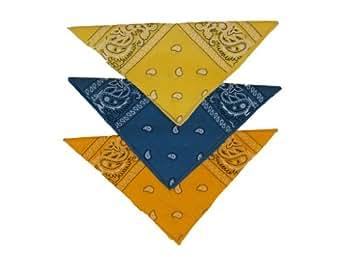 Bandana foulard lot de 3 orange, jaune et bleu vert 100% coton