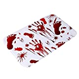 LILIGOD Badezimmermatte Rutschfeste Badematte Matten Absorbierend Schnell Trocknend Badematte Blood Footprint Bath Mat Fußmatte Scary Horror Style Halloween Dekoration Heiß