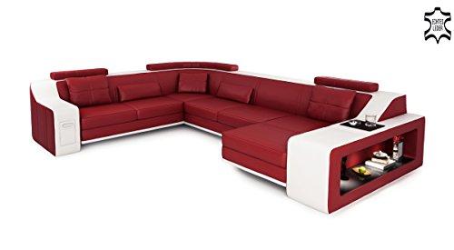 XXL Wohnlandschaft Leder grau / schwarz Couch Sofa U-Form Ledersofa Ledercouch Designsofa mit LED-Licht Beleuchtung EMPORIO - 6