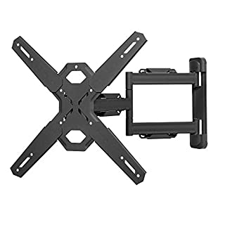 "Kanto PS300 Full Motion Flat Panel TV Mount — Fits ¬26"" to 60"" Monitors — Single Stud Wall Plate — Solid Steel Construction — For Square VESA Patterns 100x100/200x200/300x300/400x400"