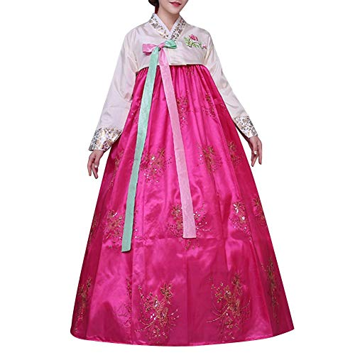 Koreanische Kostüm Tanz - Sunflowerany Frauen Korean Traditional Court Bronzing Klassische Hanbok Pailletten Langarm Flare Kleid Premium Weibliches Kostüm Korean National Dance Cosplay Leistung Kostüm
