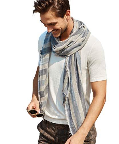 Halstuch Herren/hochwertiger Marken-Schal, hergestellt in Italien, Herbst Tuch:grau blau