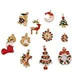 Imported 11 Gold Enamel Christmas Charms Snowflake Charm Pendants Jewelry Findings