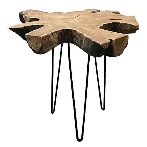 LEBENSwohnART Teak Konsole DINDING Konsolentisch ca. D90cm Massivholz Unikat Baumkante Tisch