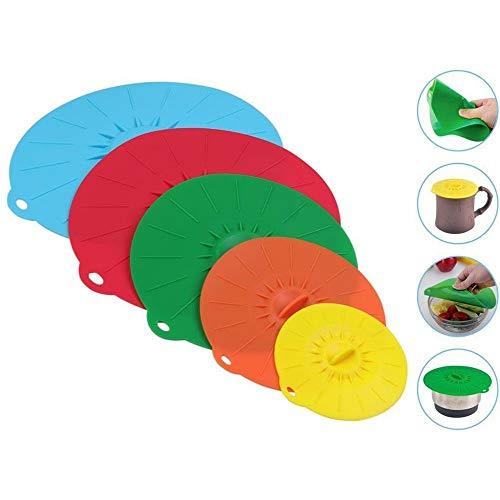 SODIAL Set di 5 silicone coperchio della ciotola per microonde pentola di cottura coperchio pan Coperchio-silicone cibo avvolgere utensili da cucina utensili da cucina