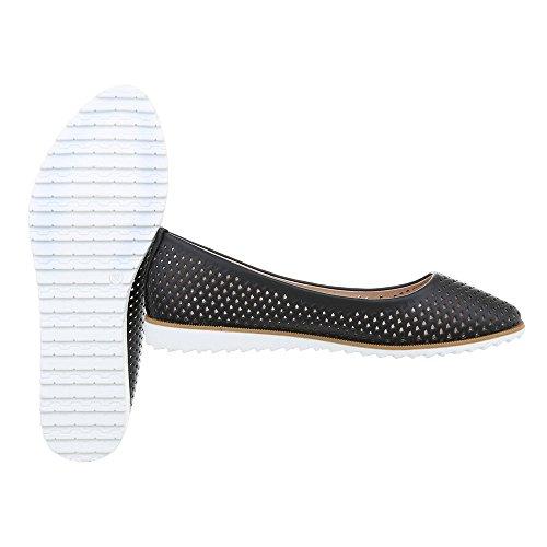 Calzado De Mujer Bailarinas Planas Bailarinas De Estilo Clásico Ital-design Negro J239a