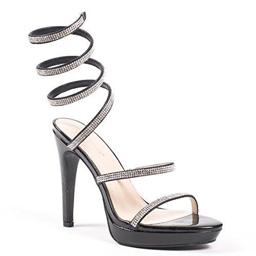 Ideal Shoes Sandales à Talons multibrides strassées Marlène Noir